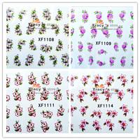 Free Shipping New 20Sheets mixed XF1101-1120 3D Nail Sticker Flower Water Temporary Tattoos Watermark nail Art Decoration
