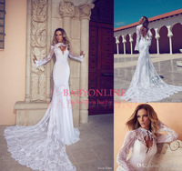new 2014 vintage bridal dress high neck  backless long sleeve lace sexy wedding dress  BO4369