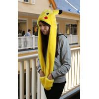 free shipping 10pcs/lot,japan anime Pikachu Hat plush cotton cap hat EW-H-AP-008