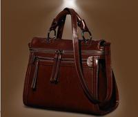 Top luxury genuine leather women's handbag fashion vintage handbag motorcycle bag cowhide messenger bag business bag