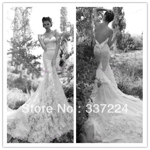 Luxury lace wedding dresses inbal dror sexy backless wedding dresses