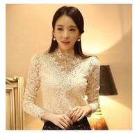 OL Lace shirt female long-sleeve 2014 spring women's basic turtleneck shirt top autumn and winter chiffon shirt