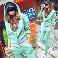 2013 plus size clothing turn-down collar outerwear casual sportswear thickening with a hood sweatshirt set