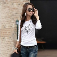 Spring new arrival 2014 slim 100% plus size cotton slim shirt women's basic t-shirt female long-sleeve