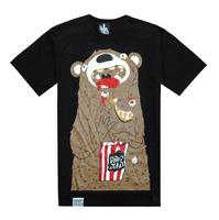 Drop dead violence bear lovers design short-sleeve T-shirt Women male t-shirt