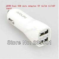 2014 Car Dual USB Auto Adapter ,ARUN 5V 1A/2A output, for Apple cable & Android GPS PDA MP3 player, Ebook  PC Game 12/24V input