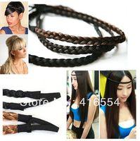 Wholesale 100pcs/lot 1.5cm width women's  braided hair headbands Synthetic Plait Elastic Bohemia Braids Hairband free shipping