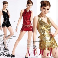 Jazz dance paillette tassel leather shorts fashion female singer set