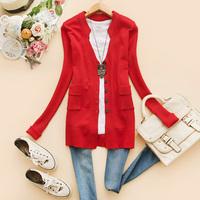 autumn women's V-neck epaulette pocket long-sleeve cardigan h-19