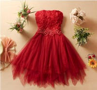 2013 8305 sweet beading flower tube top short design bridesmaid dress dinner dress one-piece