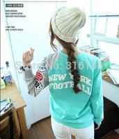 1196 2014  Women Fashion European and American style Spring/Autumn/Winter breif pattern patchwork sweatshirt  Freeshipping
