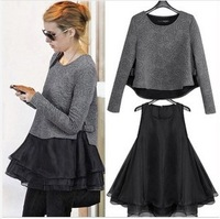 Winter Europe station thin women's loose long-sleeved two-piece dress tall waist princess dress