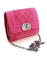 2014 women's handbag plaid velvet small bags chain fashion messenger bag casual handbag women's