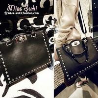 2013 women's handbag all-match black rivet bag shoulder bag handbag cross-body bag women's handbag  kippling pigi bag pasport