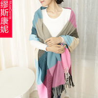 Stripe plaid yarn scarf cape