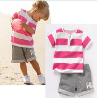 2014 New arrive children handsome boys summer Casual striped short-sleeved shirt + pants suit chidlren cotton suit clothing set