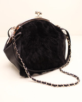 Female bags 2013 winter rabbit fur bags portable one shoulder fashion vintage chain plaid bag