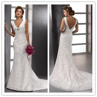 Free Shipping DASE-R3 Sexy A-line V-neck White/Ivory Crystal Lace Wedding Dresses Bridal Gown Custom-made
