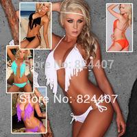 VS Push Up Bikinis Set Swimwear Swimsuit For Women Sexy Beach Wear Beachwear Fashion Summer Tassel String Swim Wear 2014 New