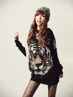 T excellent big tiger head T-shirt long-sleeve t-shirt