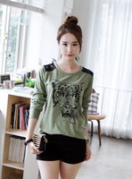School wear t tiger back print patchwork all-match lace t-shirt