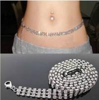 fashion women silver tone 3 line rhinestone belt belly hip chain Waist Ornaments for bridal party dress ty002