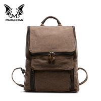 men printing backpack canvas leather packpack bags M011