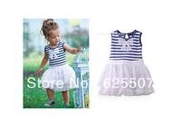 free shipping in stock children girls Stripe dress ,chilren clothing,5 pcs/lot,kid wear,tutu dress  girl dress