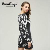 Venulings brand ladies dress warm sweater knit sweater printed wrap dress