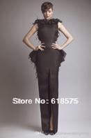 2014 Glamorous Bateau Keyhole Back Slit Peplum Long Feather Black Vintage Evening Dresses