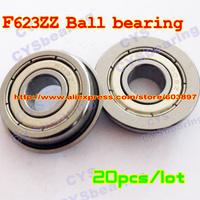 20pcs /lot F623ZZ F623ZZ 3X10X4mm 3*10*4mmF623-2Z flanged metal shielded steel ball bearing