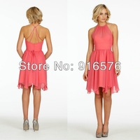 Jewel Neckline A-line Sleeveless Wedding Party Gowns Pleated Knee Length Bridesmaid Dresses