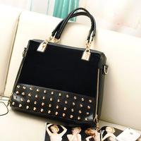 2014 women's work bag casual leather handbags scrub rivet shoulder bag women messenger bags