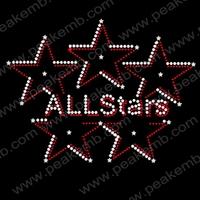 Free Shipping Wholesale 50Pcs/Lot  All Stars Motif Designs Iron On Rhinestones T Shirt Transfer Wholesale