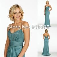 Spaghetti Straps Bridesmaid Chiffon A Line Gathered V Neckline Lace Natural Deep V Cut Out At Back Bridemaid Dress 2014