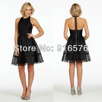 Black Short Bridesmaid Organza Dresses Wedding Party Dress A Line Racer Neckline Exposed Zipper Natural Waist