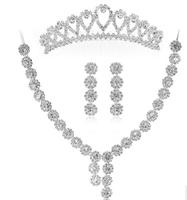 Silver Plated Crystal  Rhinestone  Flower  Heart  Crown Tiara  Wedding  Bridesmaid  Jewelry  Necklace  Earring Set