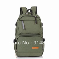 Free Shipping Fashionable Canvas Backpack Army Green Outdoor Travel Bag