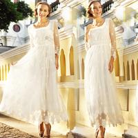 Free Shipping 2014 New Fashion Summer White Sweet Elegant Long Sleeve Wave Point Net Yarn Embroidery Maxi Dresses Saia Vestido