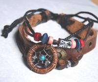 Indian Dream Catcher Bracelet  Beads Leather String Bangle Women Jewelry  Retail 1pc Online Shop