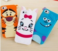 Wholesale 3D Anime Cartoon Monsters Sulley Tigger CatsSoft Rubber Cases Cover For Apple iphone 4 4G 4S 5 5G 5S Protector 01233