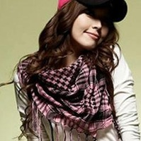 2012 houndstooth scarf plaid tassel all-match large facecloth autumn and winter