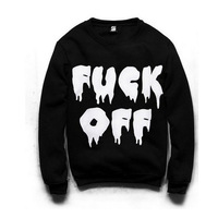 Free Shipping New 2014 Top Selling Women Spring Autumn Fashion Fuck Off Letter Print Sweatshirts Long Sleeve Black Hoodies 12022