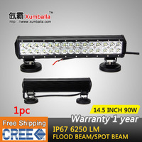 FREE SHIPPING 14.5 INCH 90W CREE LED LIGHT BAR SPOT & FLOOD OFFROAD LAMP FOR TRACTOR BOAT MILITARY EQUIPMENT LED WORK BAR LIGHT