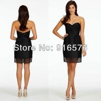 Sweetheart Neckline Black Short Bridesmaid Organza Dresses Wedding Party Dress Column Mini Ruched Bodice Sleeveless