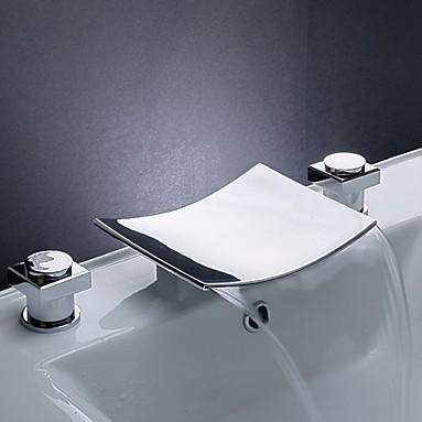 salle de bains cascade robinet de lavabo chromé double poignée avec bec généralisée