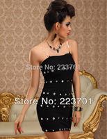 2014 New Arrival Off Shoulder Black Short Cocktail Party Dress