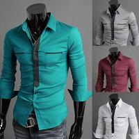 2014 Men New Fashion slim fit long sleeve dress shirts M/L/XL/XXL Wholesale PA03