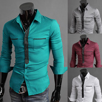 2014 Men New Fashion slim fit long sleeve dress shirts M/L/XL/XXL Wholesale PA03