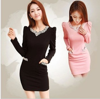 2013 diamond princess sleeve elegant long-sleeve basic slim one-piece dress slim hip